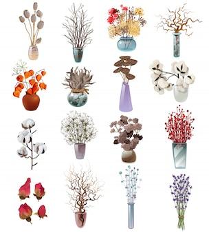 Sammlung von trockenen blumensträußen in vasen