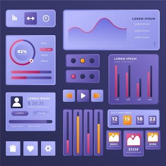 Sammlung von ui/ux-designelementen mit farbverlauf