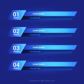 Sammlung von unteren dritteln in blautönen