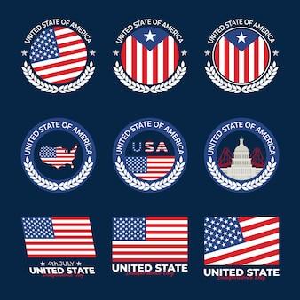 Sammlung von usa unabhängigkeitstag abzeichen