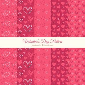 Sammlung von valentin muster in rot-tönen