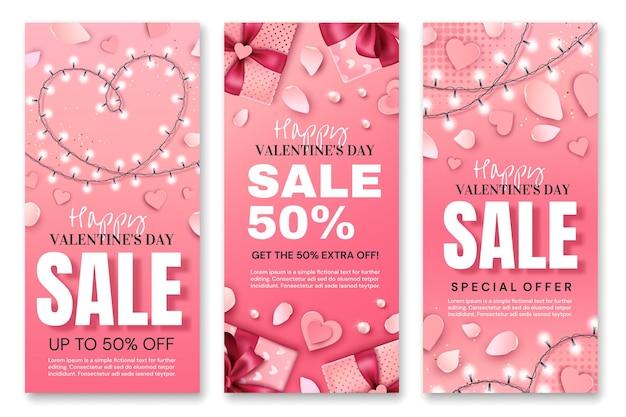 Sammlung von valentinstag flyern isoliert auf weiß