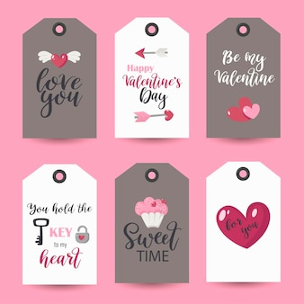 Sammlung von valentinstag-tags. druckbare kartenvorlagen.