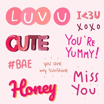 Sammlung von valentinstag-typografie
