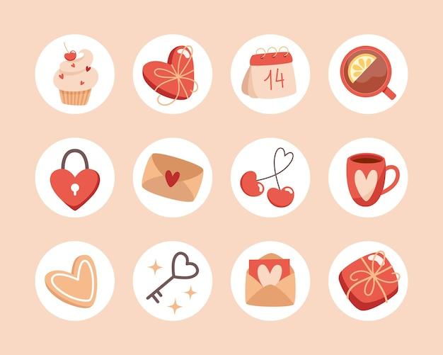 Sammlung von valentinstagsikonen für soziale medien im flachen stil