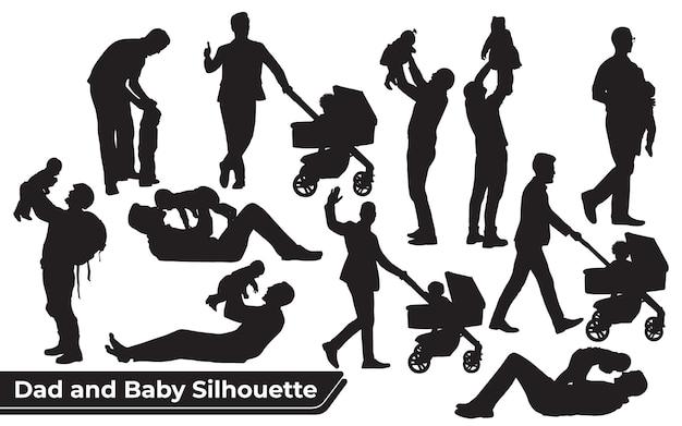 Sammlung von vater- und sohn- oder vater- und baby-silhouetten in verschiedenen posen