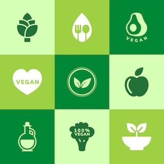 Sammlung von veganen ikonenvektoren