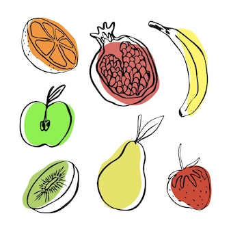 Sammlung von vektor-doodle-früchten apfel birne banane orange granatapfel kiwi und erdbeere