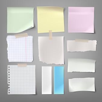 Sammlung von vektor-illustrationen papier notizen von verschiedenen arten