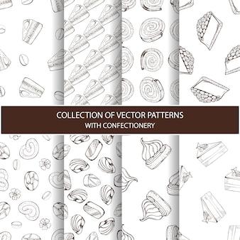 Sammlung von vektormustern mit süßwaren