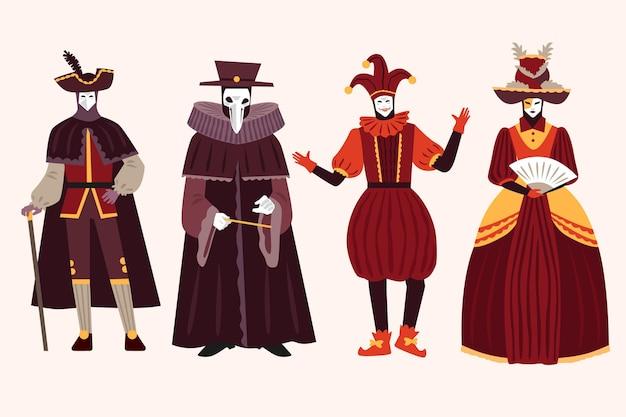 Sammlung von venezianischen karnevalscharakterkostümen