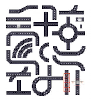 Sammlung von verbindbaren autobahnelementen. straßenstraßen mit fußwegen, kreuzungen und eisenbahnelementen. draufsicht position. illustration