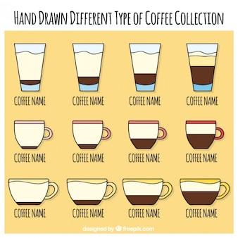 Sammlung von verschiedenen arten von kaffee