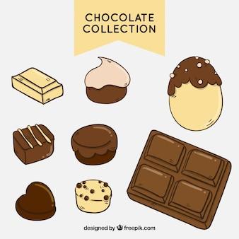 Sammlung von verschiedenen arten von schokolade