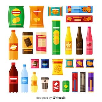 Sammlung von verschiedenen arten von snacks