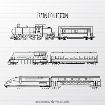 Sammlung von verschiedenen arten von zügen