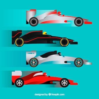 Sammlung von verschiedenen autos der formel 1