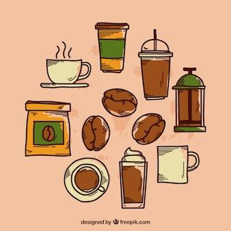 Sammlung von verschiedenen hand gezeichnet kaffee elemente