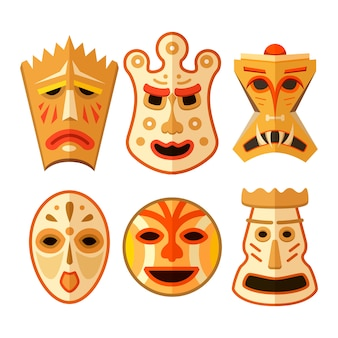 Sammlung von verschiedenen hölzernen voodoo-masken