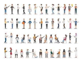 Sammlung von verschiedenen illustrierten Menschen