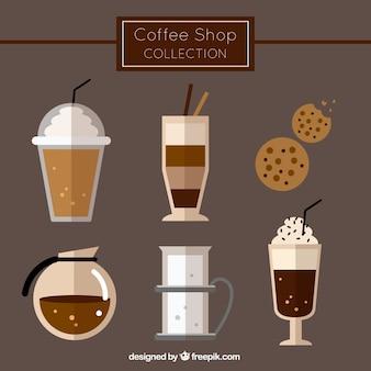 Sammlung von verschiedenen kaffeesorten und gebäck