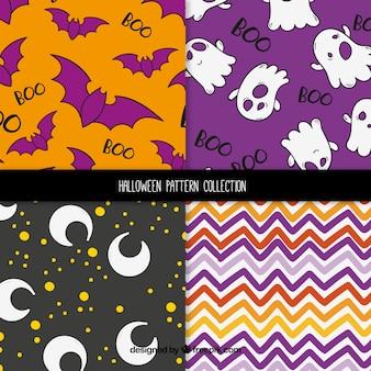 Sammlung von verschiedenen mustern für halloween