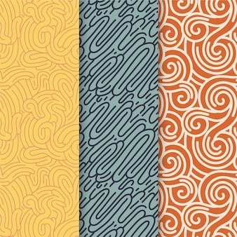 Sammlung von verschiedenfarbigen gerundeten linienmustern