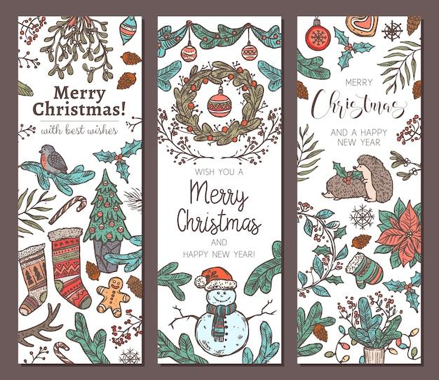 Sammlung von vertikalen bannern der festlichen frohen weihnachten und des guten rutsch ins neue jahr. grußskizze
