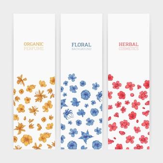 Sammlung von vertikalen blumenschablonenschablonen, die mit eleganten blühenden blumen verziert werden.