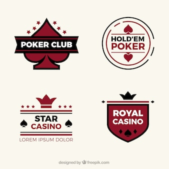 Sammlung von vier casino-logos in flaches design