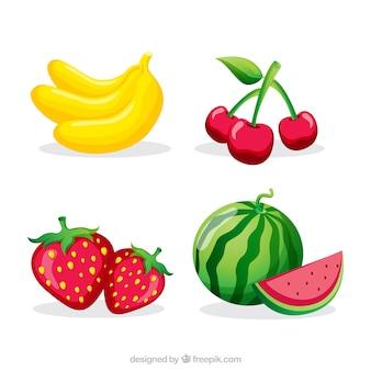 Sammlung von vier farbigen früchten