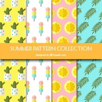 Sammlung von vier flachen mustern für den sommer