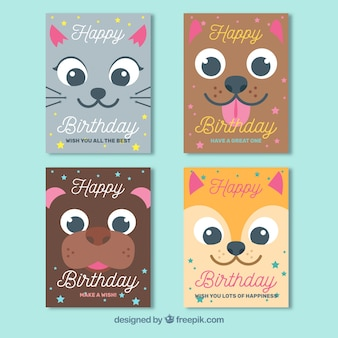 Sammlung von vier geburtstagskarten im flachen design mit tieren