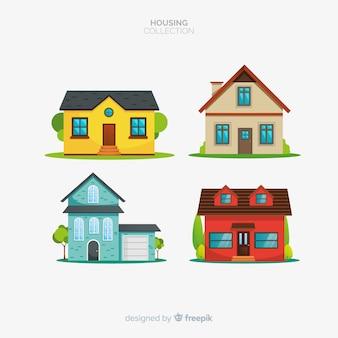 Sammlung von vier häusern