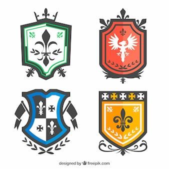 Sammlung von vier ritter embleme
