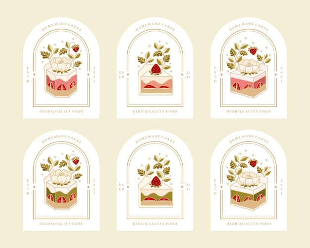 Sammlung von vintage-bäckerei, gebäck, kuchenlogo und lebensmitteletikett mit erdbeer-, rosen-, pfingstrosenblütenelementen
