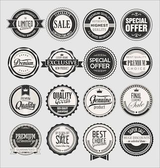 Sammlung von vintage-etiketten zum verkauf und unternehmen Premium Vektoren