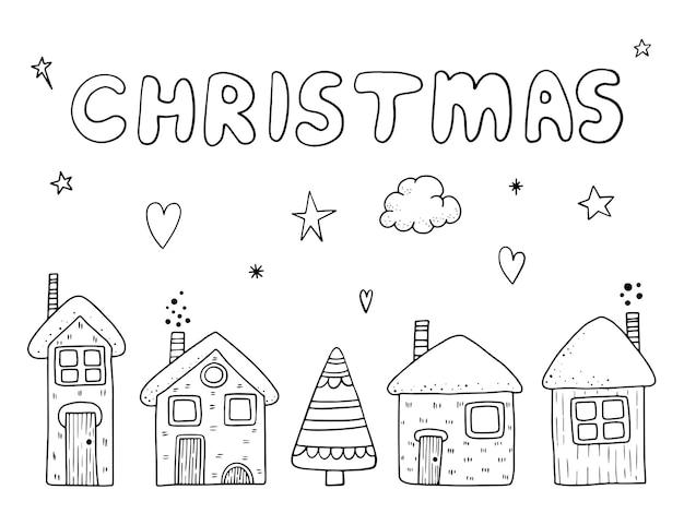Sammlung von vintage frohe weihnachten und happy new year blumen gruß stilvolle illustration