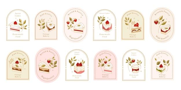Sammlung von vintage-kuchen-logo und lebensmitteletikett mit erdbeere, rahmen und floralen elementen