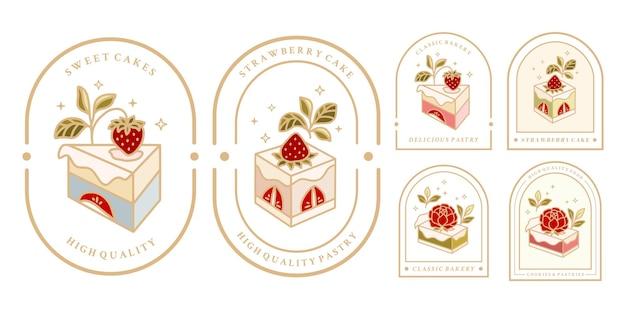 Sammlung von vintage-kuchen-logo und lebensmitteletikett mit erdbeerrahmen-blumenelementen