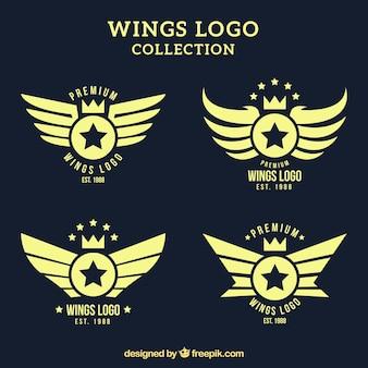 Sammlung von vintage-logos mit flügeln