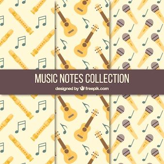 Sammlung von vintage-mustern mit musikinstrumenten und mikrofon