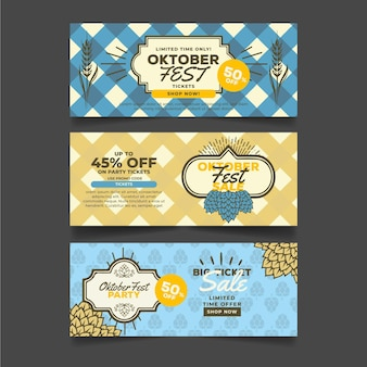 Sammlung von vintage oktoberfest bannern