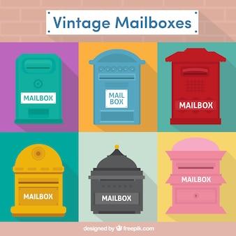 Sammlung von vintage-postfächer in flaches design