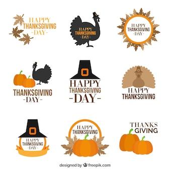 Sammlung von vintage-stil thanksgiving-abzeichen
