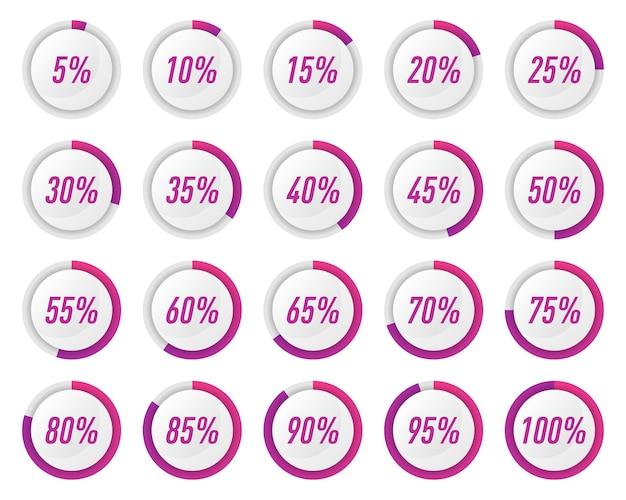Sammlung von violetten kreis-prozent-diagrammen für infografiken