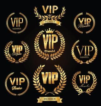 Sammlung von vip goldenes etikett mit lorbeerkranz luxusschablonendesign