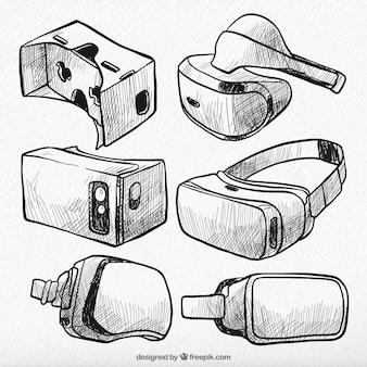 Sammlung von virtual-reality-brille skizzen