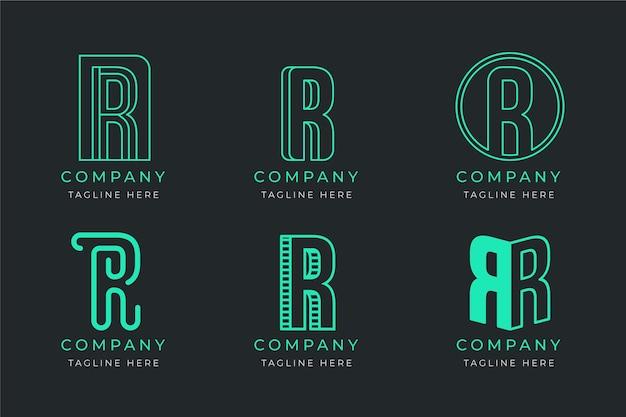 Sammlung von vorlagen mit flachen r-logos