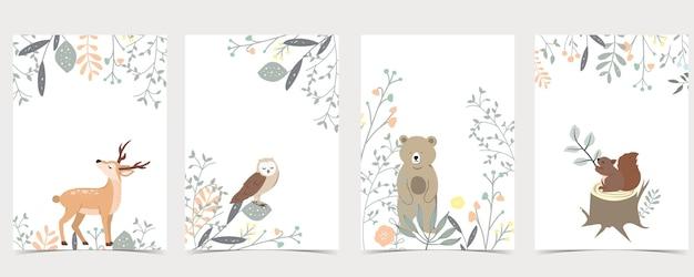 Sammlung von wäldern mit hirsch, eichhörnchen, eule, bär.